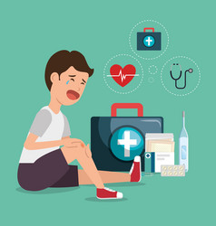 patient accident with medical service icons vector image