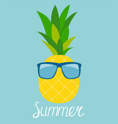 pineapple in glasses summer concept background vector image
