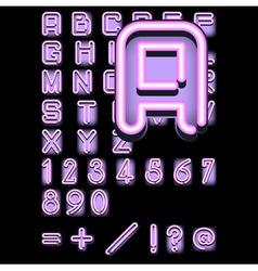 pink neon alphabet vector image