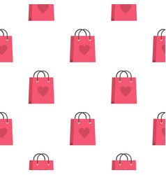 Pink shopping bag with heart pattern seamless vector