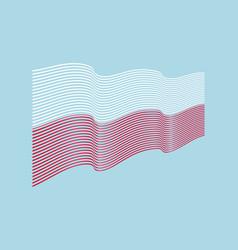 poland flag on blue background wave stripe vector image