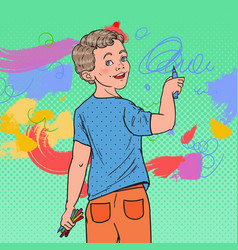 Pop art preschool boy drawing on the wall vector