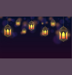 ramadan kareem background hanging lanterns and vector image