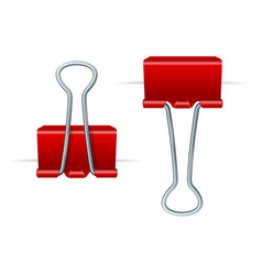 realistic 3d detailed red binder clips on a paper vector image