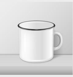 Realistic enamel metal white mug closeup vector
