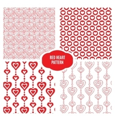 Red heart set seamless pattern vector image