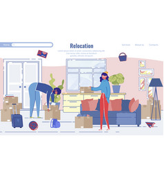 Relocation and home moving service landing page vector