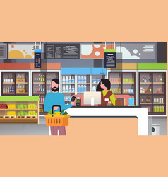 Retail woman cashier at checkout supermarket man vector