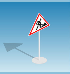 Road sign roadworks isometric vector