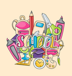 school elements clip art doodle sticker vector image