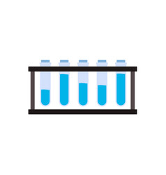 Science test tube stand with glass beakers filled vector