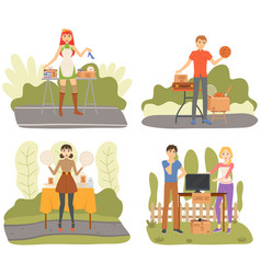 set about selling on garage sales vector image