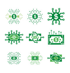 Set digital money logo technology vector