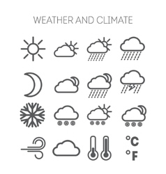 set simple weather and climate icons vector image