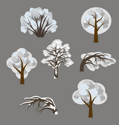 Set winter trees in snow isolated elements to vector