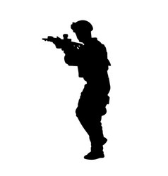 silhouette a military man with automatic weapon vector image