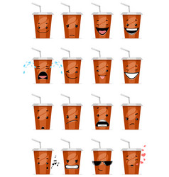 Sixteen glasses emojis vector