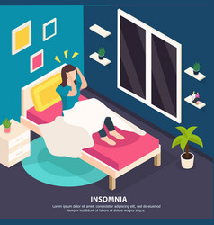 sleeping disorder isometric background vector image