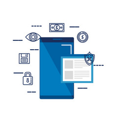 Smartphone with webpage and security icons vector