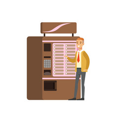 Smiling man using coffe vending machine automatic vector