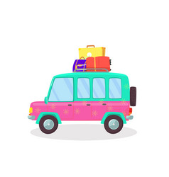 Suitcases and bags in car trunk ready for holidays vector
