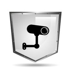 Surveillance camera symbol icon shield steel vector