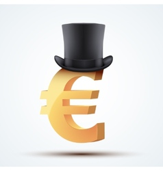 Symbol of the european euro in cylinder hat vector image
