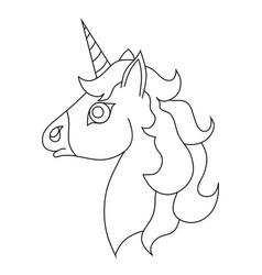 the contour of the unicorns head vector image