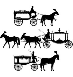 Three different horse drawn hearse carriage vector