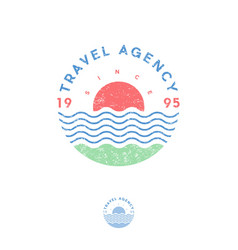 Travel agency logo tourism sea sun vector