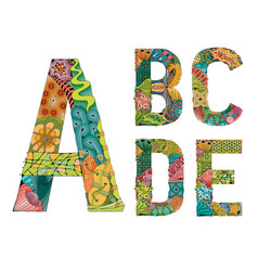 Unusual colorful alphabet doodle style letters vector
