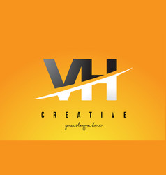 Vh v h letter modern logo design with yellow vector