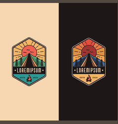 vintage badge emblem camping outdoor logo vector image