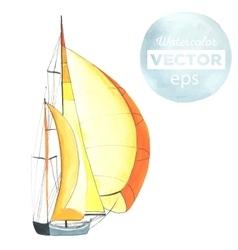 Watercolor sport yacht vector image