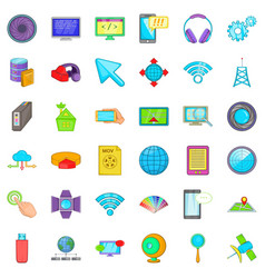 Web growth icons set cartoon style vector