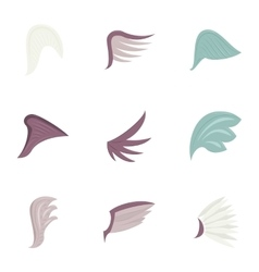 Wings icons set cartoon style vector image vector image