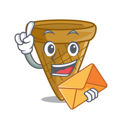 with envelope cartoon ice cream wafer cone vector image