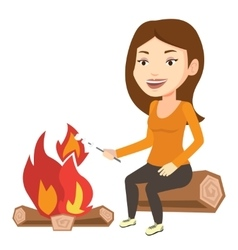 Woman roasting marshmallow over campfire vector