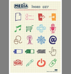 Media and communication web icons set vector image