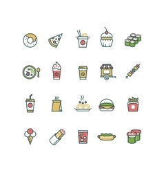 Outline fast food icons with flat color vector image