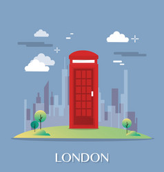 red telephone box in london design vector image vector image
