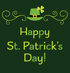 st patricks day greeting card with leprechaun set vector image vector image