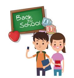 back to school boy and girl board apple alphabet vector image vector image