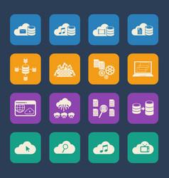 big data cloud computing icons set vector image vector image