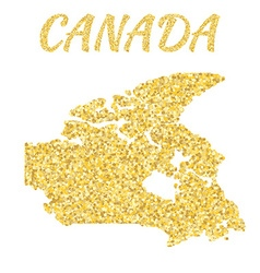Map of Canada in golden With gold yellow particles vector image vector image