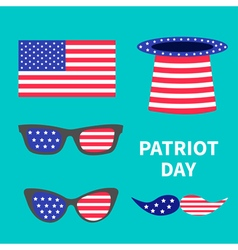 Patriot day set Hat Glasses moustaches Flat vector image vector image