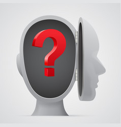 question mark inside a head silhouette vector image