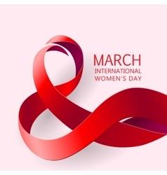Ribbon March 8 greeting card vector image