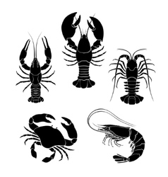 Set of the seafood crustaceans silhouettes vector