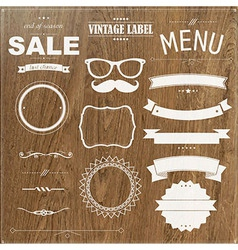 Set Of Vintage Badges With Wood Background vector image vector image